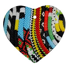Multi-Colored Beaded Background Ceramic Ornament (Heart)