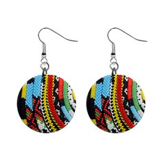 Multi Colored Beaded Background Mini Button Earrings
