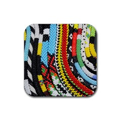 Multi-Colored Beaded Background Rubber Drinks Coaster (Square)