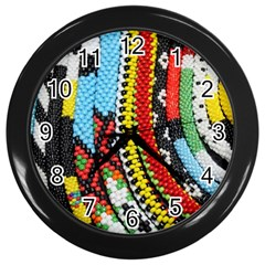 Multi Colored Beaded Background Black Wall Clock