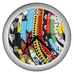Multi-Colored Beaded Background Silver Wall Clock