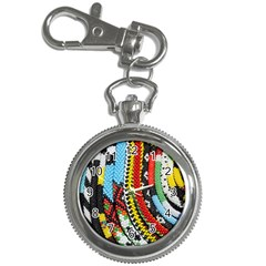 Multi-Colored Beaded Background Key Chain & Watch