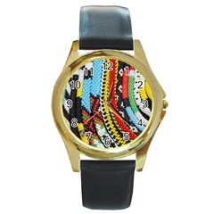 Multi-Colored Beaded Background Black Leather Gold Rim Watch (Round)