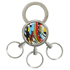 Multi-Colored Beaded Background 3-Ring Key Chain