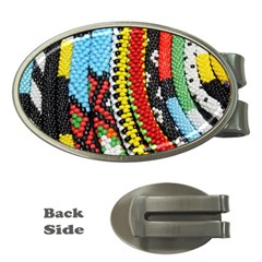 Multi-Colored Beaded Background Money Clip (Oval)