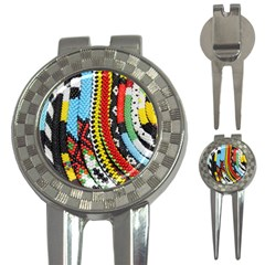 Multi-Colored Beaded Background Golf Pitchfork & Ball Marker