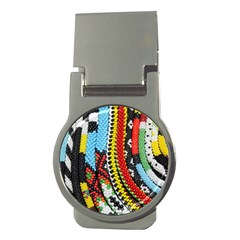 Multi Colored Beaded Background Money Clip (round)