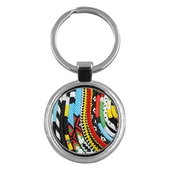 Multi Colored Beaded Background Key Chain (round)
