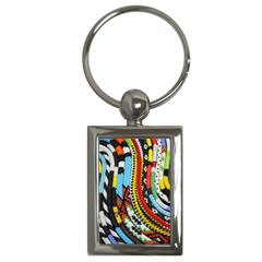 Multi-Colored Beaded Background Key Chain (Rectangle)