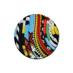 Multi-Colored Beaded Background Rubber Drinks Coaster (Round)