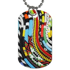 Multi Colored Beaded Background Single Sided Dog Tag