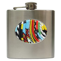 Multi Colored Beaded Background Hip Flask