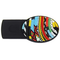 Multi-Colored Beaded Background 1Gb USB Flash Drive (Oval)