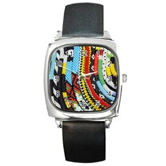 Multi Colored Beaded Background Black Leather Watch (square)