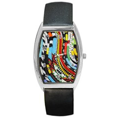 Multi-Colored Beaded Background Black Leather Watch (Tonneau)