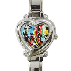 Multi Colored Beaded Background Classic Elegant Ladies Watch (heart)
