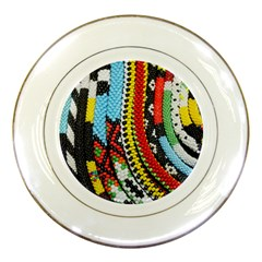 Multi-Colored Beaded Background Porcelain Display Plate