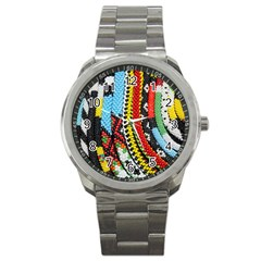Multi Colored Beaded Background Stainless Steel Sports Watch (round)