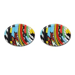Multi-Colored Beaded Background Oval Cuff Links
