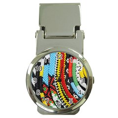 Multi-Colored Beaded Background Chrome Money Clip with Watch
