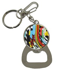 Multi-Colored Beaded Background Key Chain with Bottle Opener