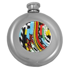 Multi-Colored Beaded Background Hip Flask (Round)