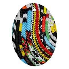 Multi-Colored Beaded Background Oval Ornament (Two Sides)