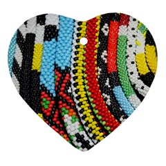 Multi-Colored Beaded Background Heart Ornament (Two Sides)