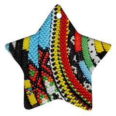Multi-Colored Beaded Background Twin-sided Ceramic Ornament (Star)