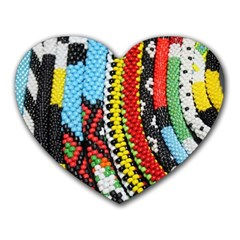 Multi-Colored Beaded Background Mouse Pad (Heart)