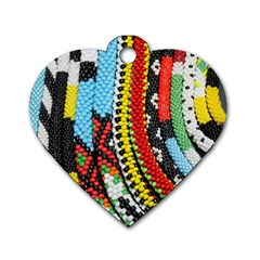 Multi-Colored Beaded Background Single-sided Dog Tag (Heart)