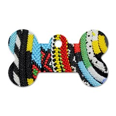Multi Colored Beaded Background Single Sided Dog Tag (bone)