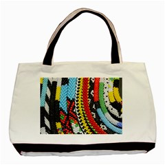 Multi-Colored Beaded Background Twin-sided Black Tote Bag