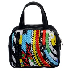 Multi-Colored Beaded Background Twin-sided Satched Handbag