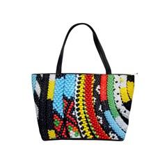 Multi-Colored Beaded Background Large Shoulder Bag