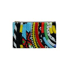 Multi-Colored Beaded Background Small Makeup Purse