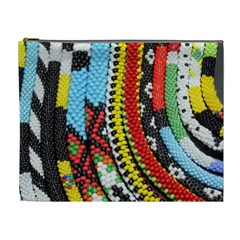 Multi-Colored Beaded Background Extra Large Makeup Purse