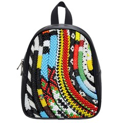 Multi Colored Beaded Background Small School Backpack