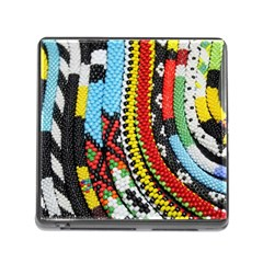 Multi Colored Beaded Background Card Reader With Storage (square)