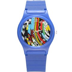 Multi-Colored Beaded Background Round Plastic Sport Watch Small