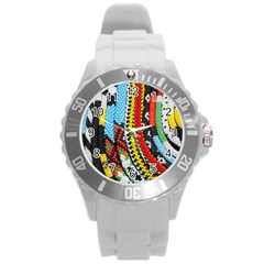 Multi-Colored Beaded Background Round Plastic Sport Watch Large