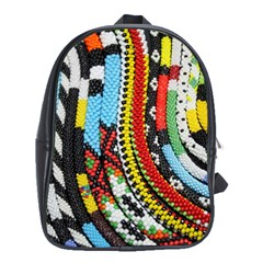 Multi-Colored Beaded Background School Bag (XL)