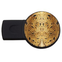 Golden Brown Tooled Faux Leather Look USB Flash Drive Round (2 GB)