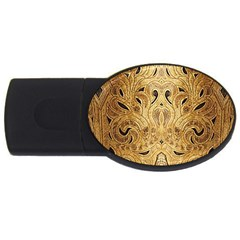 Golden Brown Tooled Faux Leather Look Usb Flash Drive Oval (2 Gb)