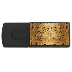 Golden Brown Tooled Faux Leather Look Usb Flash Drive Rectangular (4 Gb)