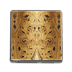 Golden Brown Tooled Faux Leather Look Memory Card Reader With Storage (square)