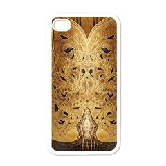 Golden Brown Tooled Faux Leather Look Apple iPhone 4 Case (White)