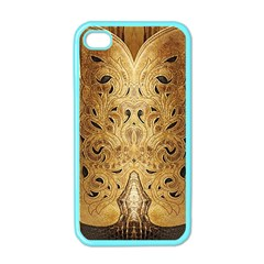 Golden Brown Tooled Faux Leather Look Apple iPhone 4 Case (Color)