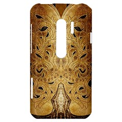 Golden Brown Tooled Faux Leather Look HTC Evo 3D Hardshell Case