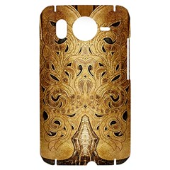 Golden Brown Tooled Faux Leather Look HTC Desire HD Hardshell Case